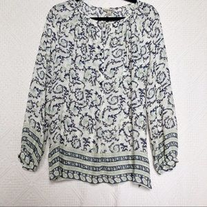 NWT [Lucky Brand] Floral Paisley Tunic Boho Blouse